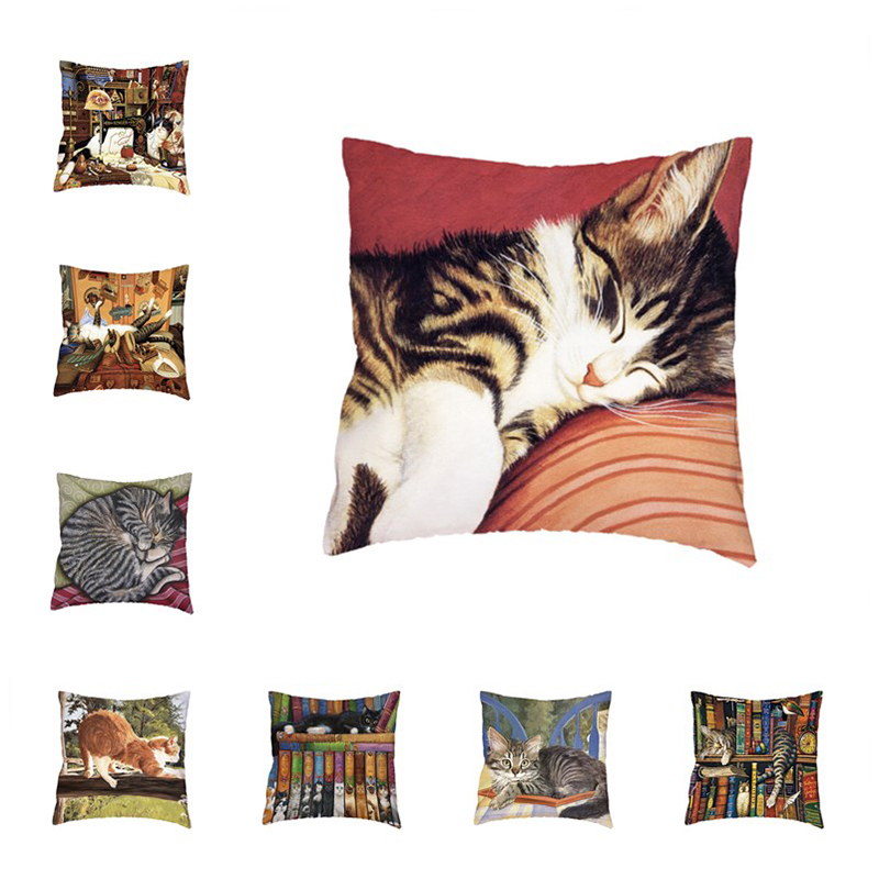 Naughty Cat Polyester Peach Skin Cushion Covers Book