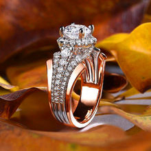 Cute Female Crystal Zircon Finger Ring 18KT Rose Gold White Stone Wedding Rings For Women Engagement Ring Jewelry Accessories(China)