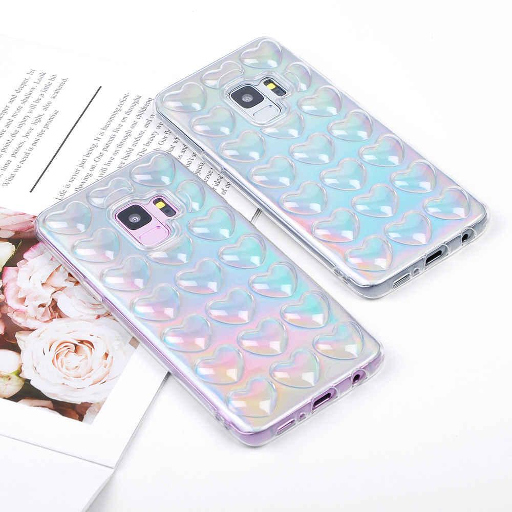 Лазерные Симпатичные 3D «любящее сердце» чехол для телефона для samsung Galaxy S7 S7edge S8 S8Plus S9 S9Plus Note 8 цветной, мягкий, из ТПУ на заднюю панель