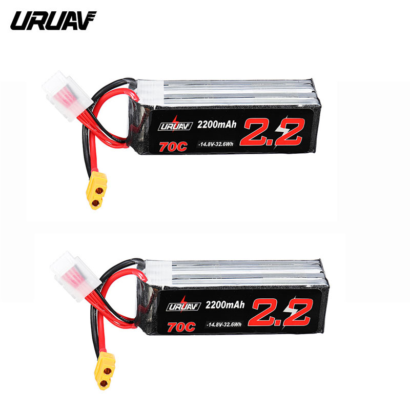 URUAV <font><b>14.8V</b></font> <font><b>2200mAh</b></font> 70C 4S Lipo <font><b>Battery</b></font> XT60 Plug for Eachine Fury Wing Airplane Feilun FT011 RC Drone Multicopter FPV Part Accs image
