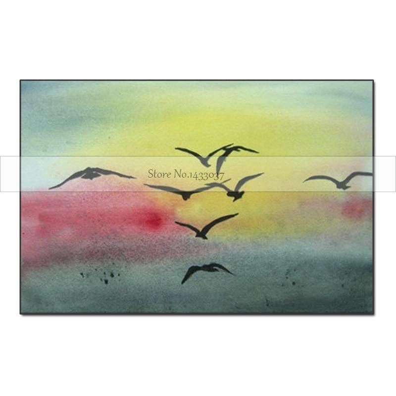 Moderní nástěnné malby ručně vyráběné ptáky létající duhová obloha krajina domácí dekorativní umění olejomalba barevné abstraktní obrázek umění