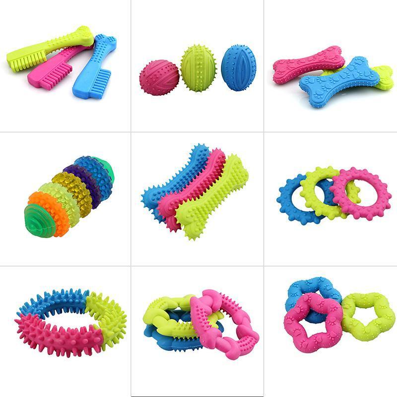 1 шт. Симпатичные резиновые устойчивы укуса чистить зубы, обучение игрушки для домашних животных собака, кошка, щенок случайный цвет