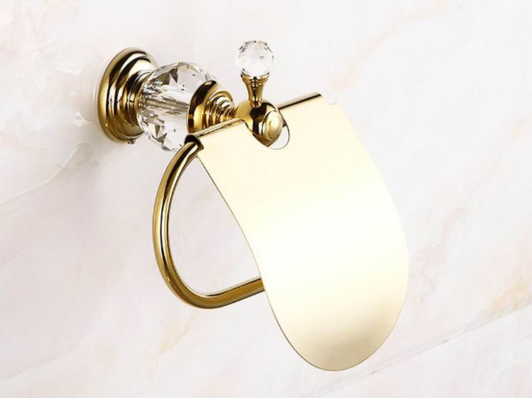 ФОТО Free shipping Crystal brass wall-mounted paper holder toilet paper holder gold finish bathroom accessories