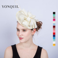 15 Colors Special Fascinator On Hair Bands Banquet Dance Hats Fancy Feather Ostrich Hair Accessories For