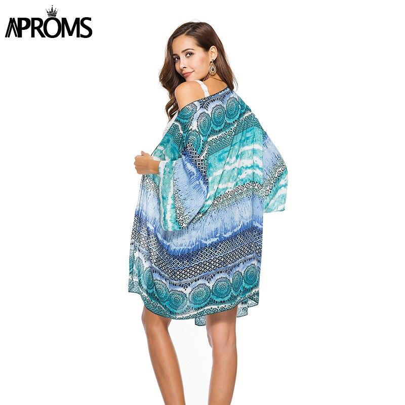 6f1c806068f Aproms Blue Tropical Floral Print Wide 3/4 Sleeve Kimonos Summer Boho Loose  Blouse Women