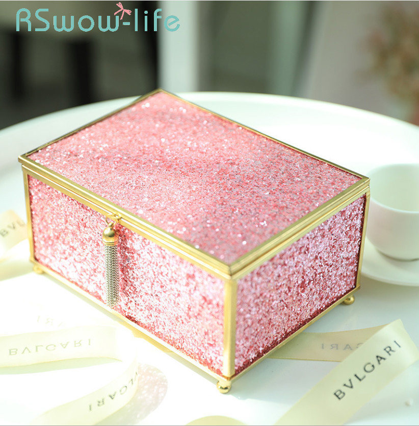 Home Small Ornaments Crafts Fashion Light Luxury Jewelry Box Glass Jewelry Creative Storage Box For Storage Supplies in Storage Boxes Bins from Home Garden