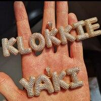 A Z Custom Name Splice Bubble Letters Gold Silver Color Necklaces Pendant Chain For Men Women Cubic Zircon Hip Hop Jewelry Gift