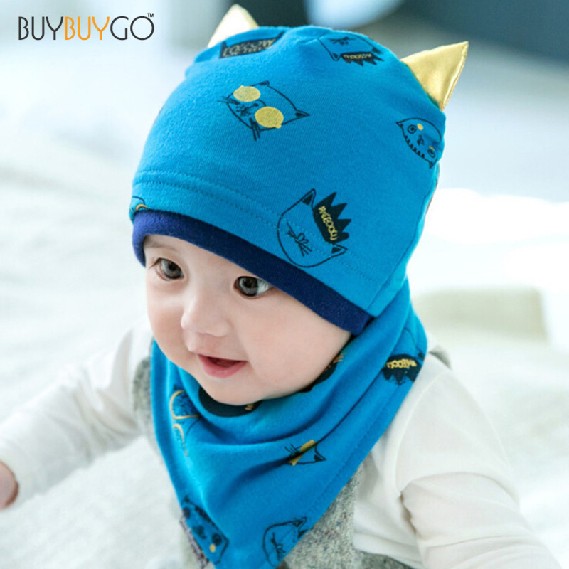 f7d510265c06 Buy Baby Boys Girls Sleep Hat + Saliva Towel Triangle Head Scarf Set ...