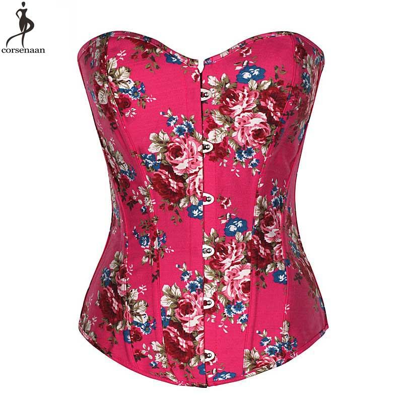 Pink   Corset   Rose Flower   Corsets   Overbust Korset Green   Bustier   Sexy Lolita Women Girl Outwear Waist Slimming Boned Floral Gorset