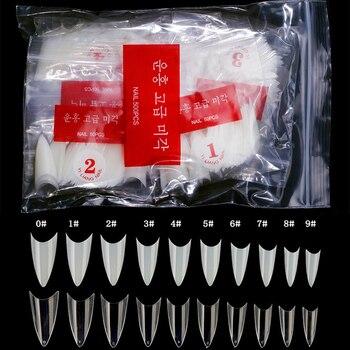 500 Uds estilete puntiagudo puntas postizas para uñas manicura falsa Gel acrílico blanco/claro/Natural Diy salón proveedores uñas