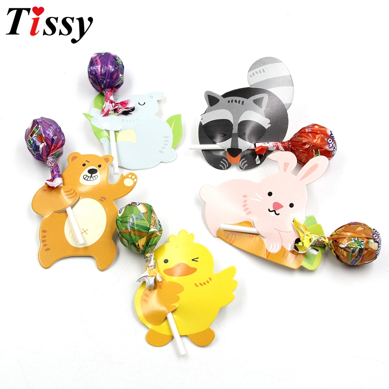 50PCS/Lot Creative Cute Animal Candy Lollipop Decoration Cards For Wedding Kids Birthday Party Candy Gift Accessories Supplies