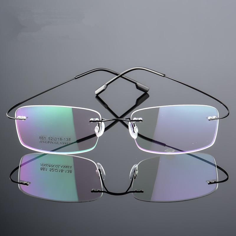 çerçevesiz Titanyum Gözlük çerçeveleri Erkekler Esnek Optik çerçeve