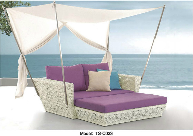 Canopy Daybed Outdoor Wicker Sun Sofa Lounge Milano Leather 2 Piece Chaise Sectional Patio Day Bed Deck Poolside Furniture In