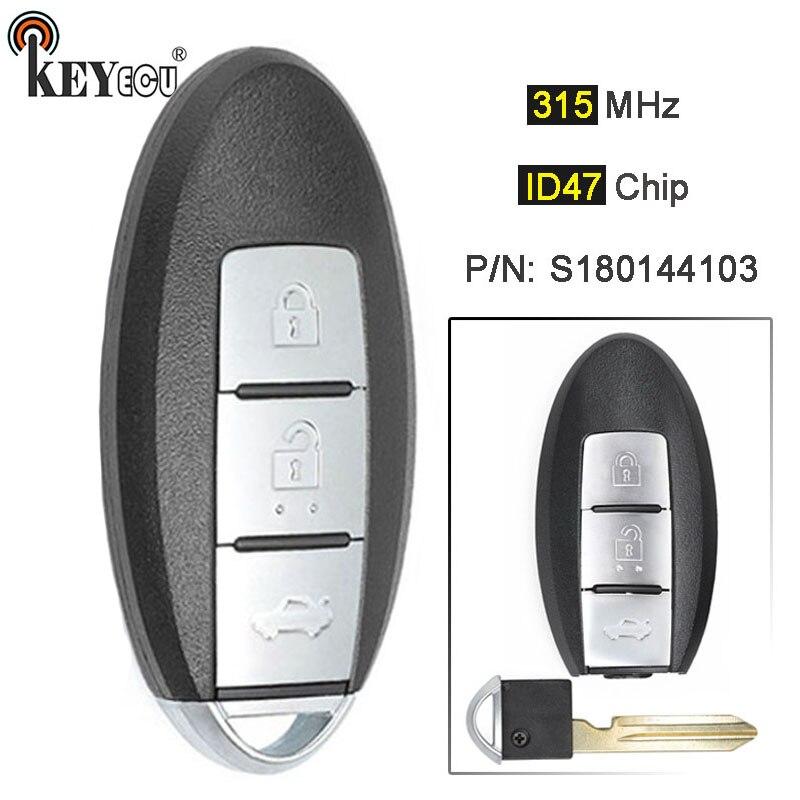 KEYECU 315MHz ID47 P/N: S180144103 remplacement Smart télécommande porte-clés 3 boutons pour Nissan x-trail