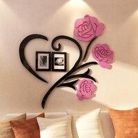 אהבת רוז פרחי 3d מדבקות קיר בית אביזרי קישוט מדבקת מסגרת מתנות הטובות ביותר לסלון דקור adesivo דה פארדה
