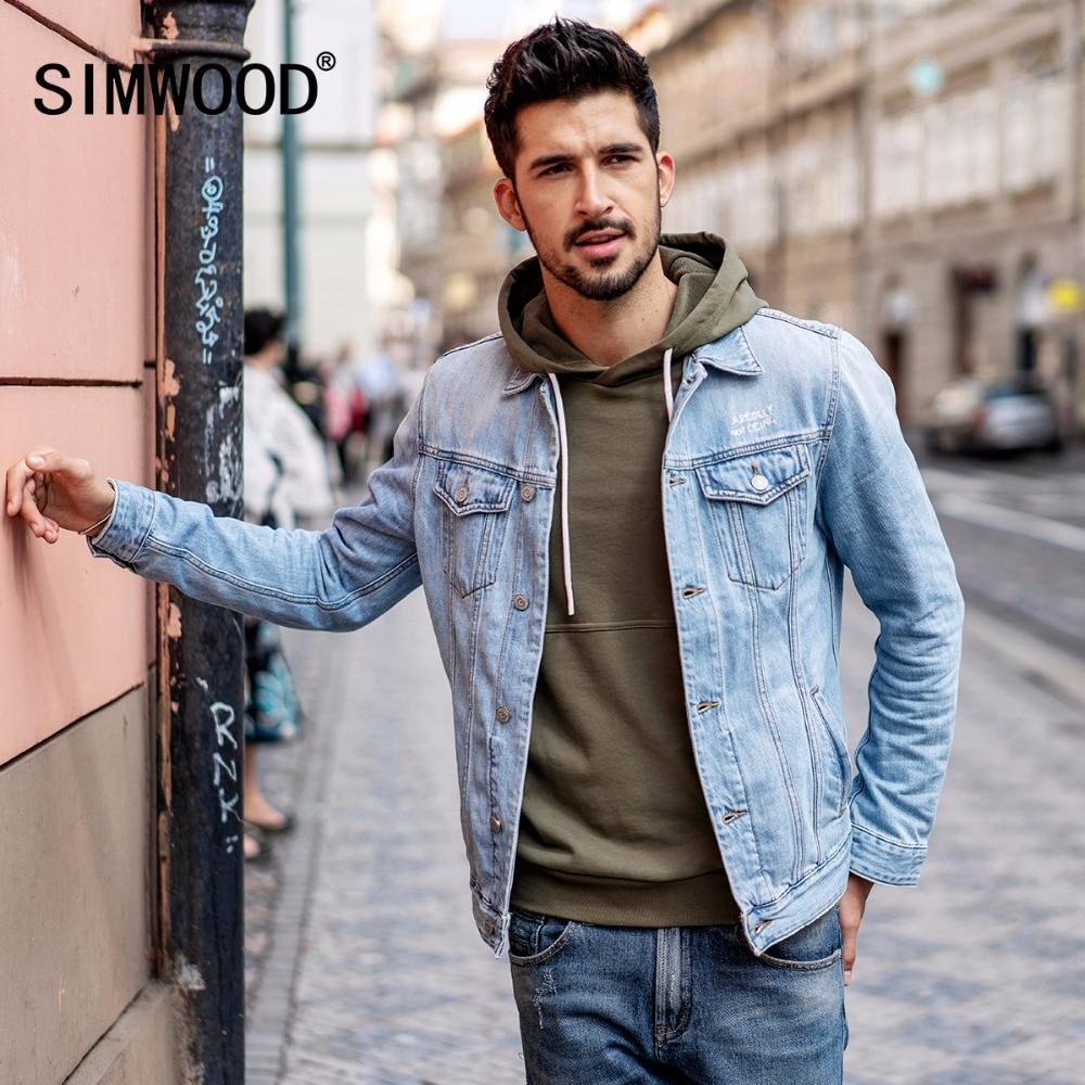 SIMWOOD 2019 Nouvelle Arrivée Denim Veste Hommes Mode Slim Fit Coton Marque Vêtements Vintage Outwear Mâle Plus La Taille Camionneur 180090