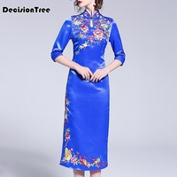 2019 new red traditional chinese qipao wedding oriental silk dress embroidered flowers long modern plus cheongsam party dress