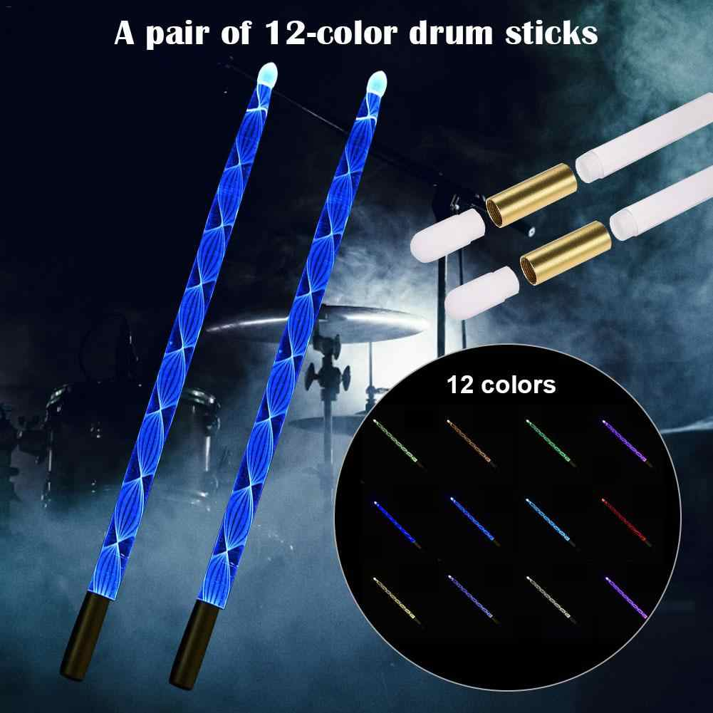 Luminous Drum Sticks Glow in The Dark Band Drumsticks Performance Props Glowing Colorful Acrylic Bright Light Up Jazz Drum Mallets for Stage Party 12 Colors Alternately Light