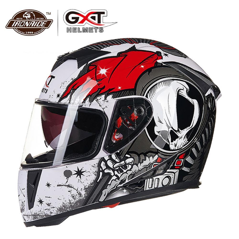 GXT New Flip Up Racing Helmet Double Lens Motorcycle Helmet Full Face Safe Racing Riding Helmets