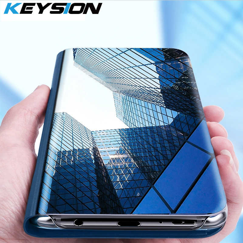 KEYSION Smart Flip Mirror Case For Huawei Y6 Y7 Prime Y9 2018 2019 Mate 20 Lite P30 Pro Cover For Huawei honor 8X 10 Nova 2i 3 4
