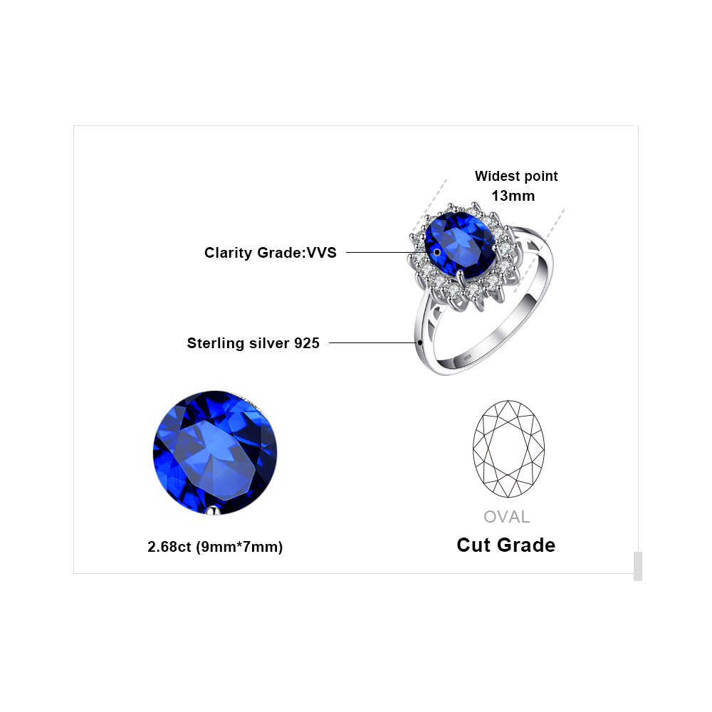 JewelryPalace Princess Diana William Kate Middleton's 3.2ct Created Blue Sapphire Engagement 925 Sterling Silver Ring For Women 4