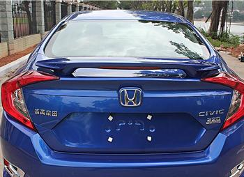 PAINT ABS CAR REAR WING TRUNK LIP SPOILER FOR 16 17 Honda Civic 2016 2017 2018 With LED LAMP BY EMS