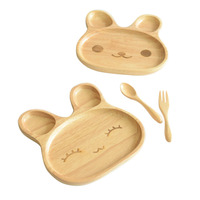 New Children S Plate With Small Separate Sections Cartoon Cute Innovative Rabbit Shaped Tray Natural Bamboo