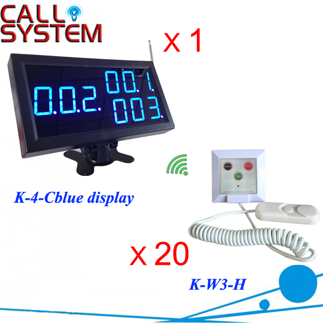 Hospital Nurse Panic Button System Electronic equipment 1 number display 20 buzzer for patients