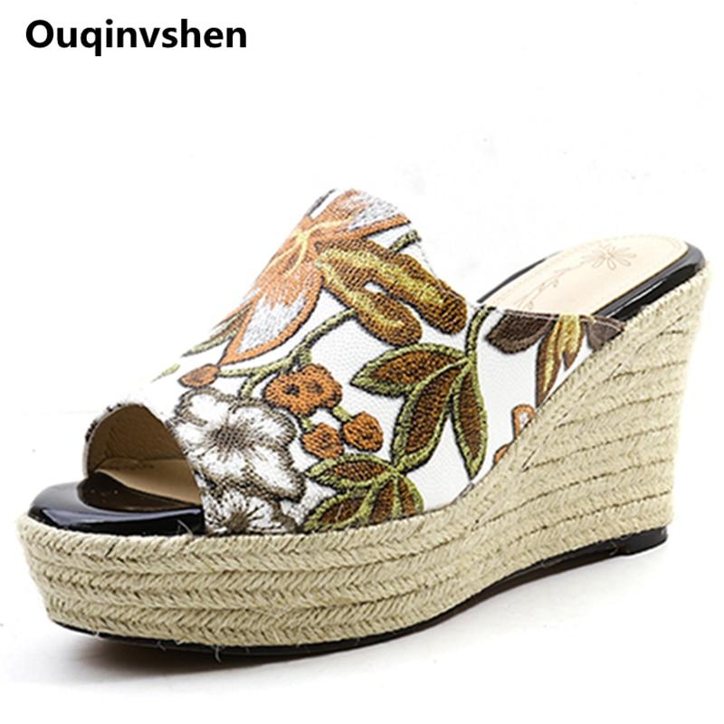 Ouqinvshen نسج الأوتاد أحذية الصيف الأصفر - أحذية المرأة