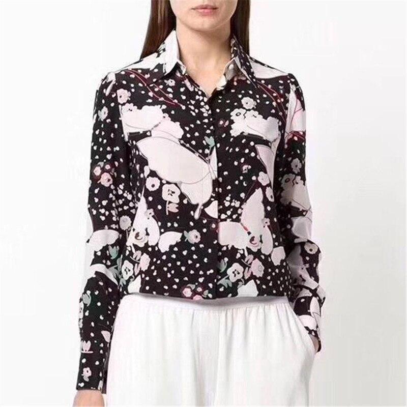 b0ebb3bb6c9b Compre Blusas De Seda Para Las Mujeres De Manga Larga Negro Con Estampado  Floral Camisas Para El Verano De Manga Completa Blusas Casuales Señora A ...