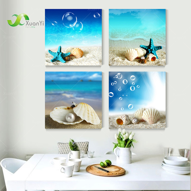 Buy 4 panel modern printed blue beach for 4 home decor