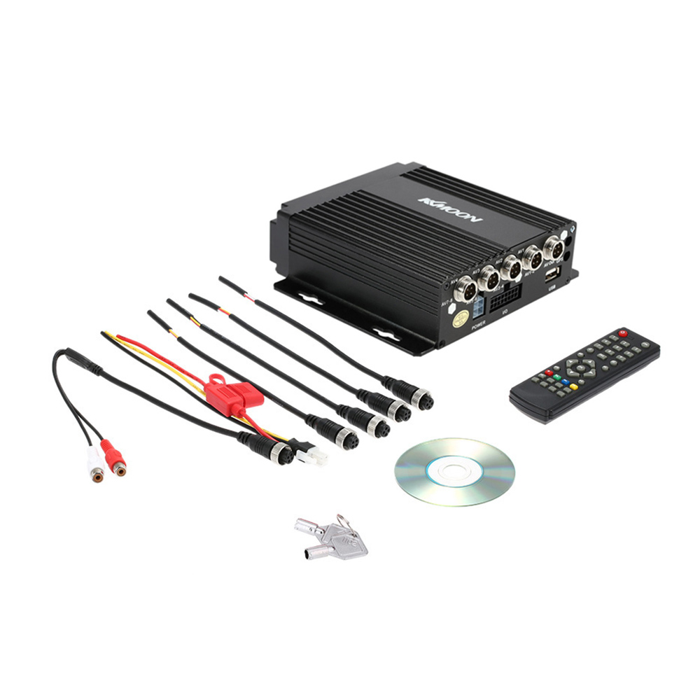 KKmoon MINI Realtime SD Car Mobile DVR 4CH Video/Audio Input with Remote Controller Encrption