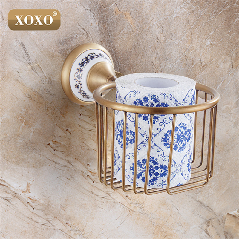 Xoxowholesale And Retail Antique Bronze Bathroom Brass Toilet Paper Holder Roll Holder Paper