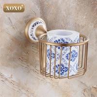 XOXOWholesale And Retail Antique Bronze Bathroom Brass Toilet Paper Holder roll holder paper towel holder Shower Storage 11083BT