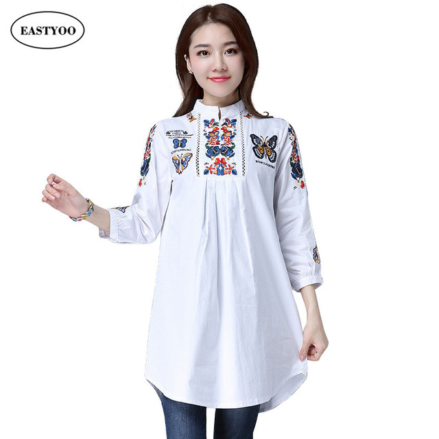 Women Cotton Blouses Summer 2017 Butterfly Embroidery Blouses Plus