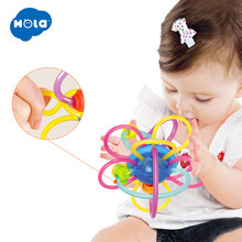 HOLA 1106 Baby Fitness Toys Hand Bell 0-12 Months Baby Ball Toy Rattles Develop Baby Intelligence Baby Toys Hand Bell Rattle(China)