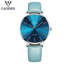 Cadisen femmes montres de luxe marque Simple dames horloges quartz en cuir bleu blanc noir casual étanche femme montres