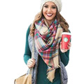 Invierno Tartan Bufanda Femenina Desigual A Cuadros de Mezcla de lana de Nueva Diseñador Chales Bufanda Bufandas de la venta Caliente Marca de Lujo de Las Mujeres 4219