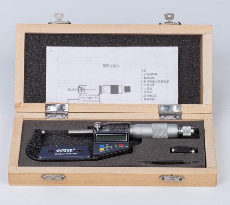 Мм 0,001 мм наружный микрометр 25-мм 50 мм хромированный нержавеющая сталь цифровой микрометр электронный микрометрический суппорт манометр