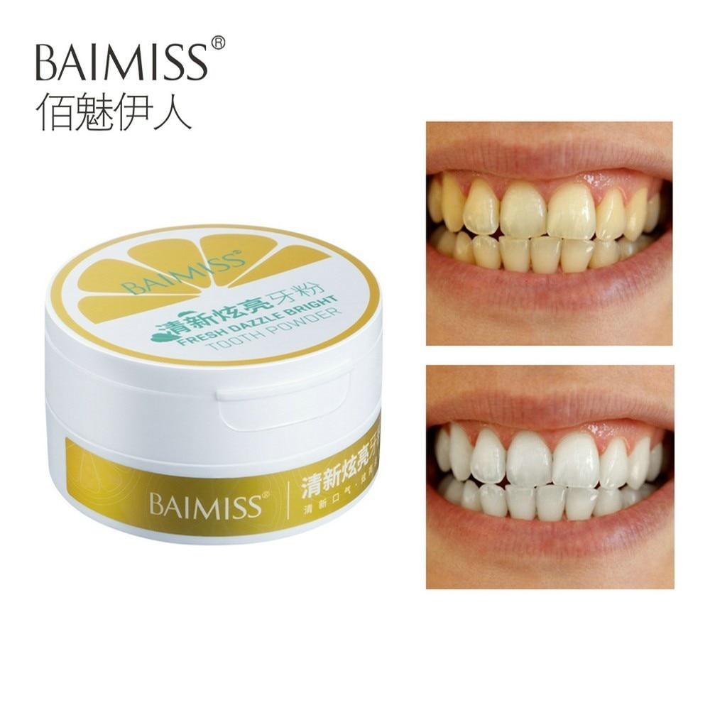 BAIMISS Teeth Whitening Powder Fresh Dazzle Teeth Brighten Oral Hygiene Cleaning Tools Plaque Tartar Stains Remover Gentle 50g