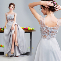 New Light Grey Fairy Long Sexy Lady Girl Women Princess Bridesmaid Banquet Party Ball Dress Gown