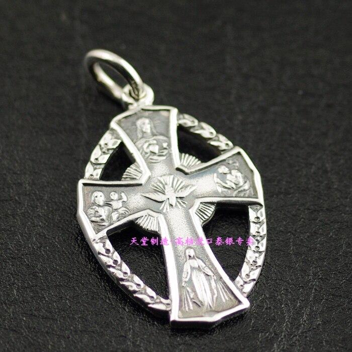 Thèmes religieux catholiques en argent Sterling 925 croix pendentif en argent importé