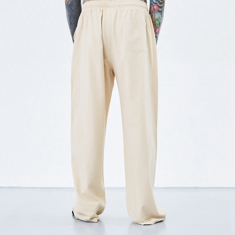 Image 2 - summer spring men vintage pants cotton plus size 7XL 8XL 9XL 10XL  casual home chinese japan style khaki Comfortable pants blue  -
