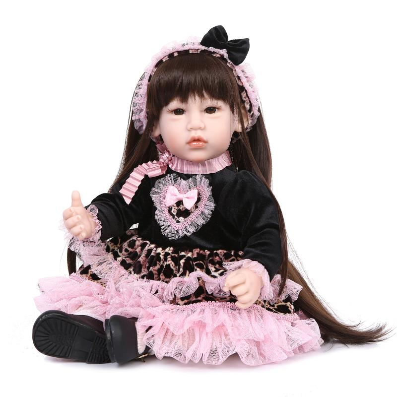 Nicery 20inch 50cm Lifelike Reborn Baby Lovely Girl Doll High Vinyl Christmas Toy Gift for Children Pink Black Heart Dress nicery 18inch 45cm reborn baby doll magnetic mouth soft silicone lifelike girl toy gift for children christmas pink hat close