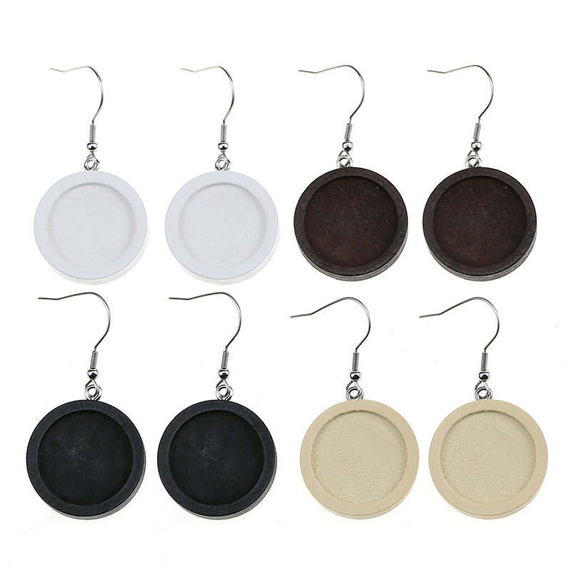 10pcs/lot Fit 20mm Wood Cabochon Earring Base Settings Blank Stainless Steel Hooks Diy Accessories For Making Earrings