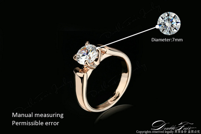 Double Fair 1.25 Carat Round Cut Cubic Zircon Engagement Rings Silver/Rose Gold Color Wedding Jewelry For Men/Women Anel DFR054 2