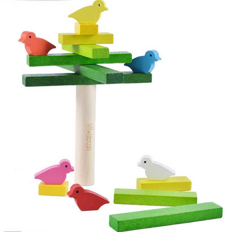 Веселые птицы красочные деревянные блоки креативные Детские радужные деревянные строительные блоки Младенцы Дети Ранние обучающие игрушки набор