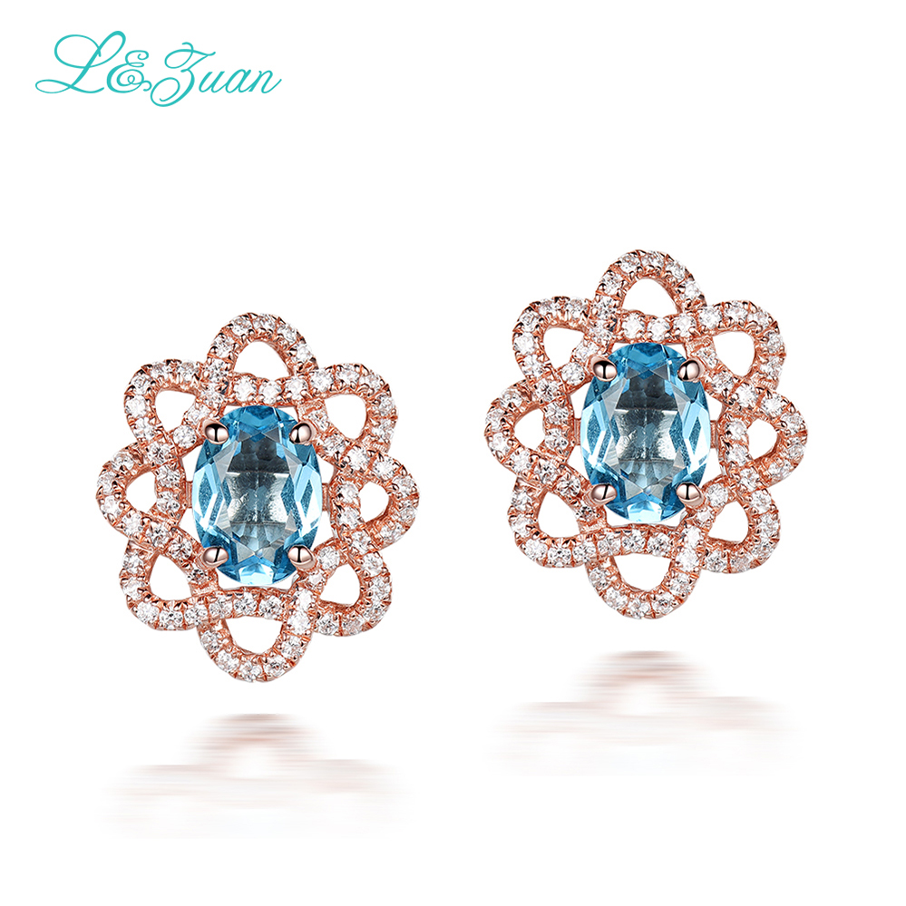 I&zuan Rose Gold Flower Shape Stud Earrings For Women 925 Sterling Silver Natural Topaz Blue Stone Elegant Earring Fine Jewelry pair of vintage rhinestoned openwork flower shape stud earrings for women