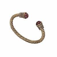 Vintage Open Cuff Jewelry Wooden Bead Inset Viking Bangle Antique Gold Plated Braceletes Carter Love Bracelet