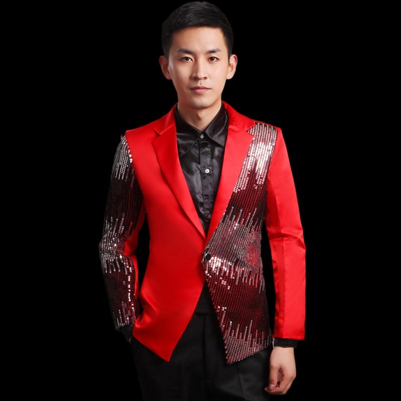 Moderator clothes paillette male master Sequin Dresses Stage Costumes Men terno Suit MC Host Clothing Singer Suits Blazer jacket